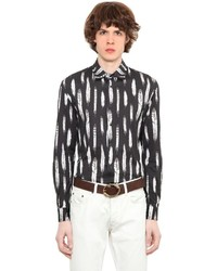 Roberto Cavalli Feather Printed Cotton Jersey Shirt