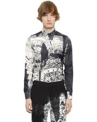 Alexander McQueen London Map Print Cotton Silk Twill Shirt