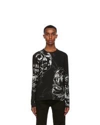 Alexander McQueen Black And Silver Skull Long Sleeve T Shirt