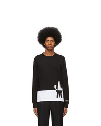 Moncler Black And White Maglia Long Sleeve T Shirt