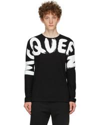 Alexander McQueen Black Graffiti Kimono Sleeve Long Sleeve T Shirt