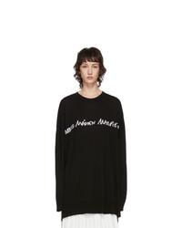 MM6 MAISON MARGIELA Black Oversized Logo Long Sleeve T Shirt