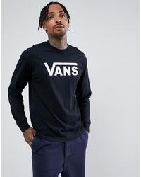 Vans Large Logo Long Sleeve T Shirt In Black Vn000k6hy281