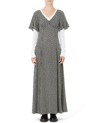 Marc Jacobs Ruffle Sleeve Floral Print Silk Maxi Dress