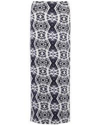 Black and white batik print maxi skirt medium 256688