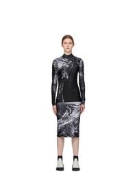 S.R. STUDIO. LA. CA. Black And White Fern Mock Neck Fitted Dress