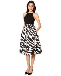 Black and White Print Midi Skirt