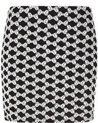 River Island Black Chelsea Girl Bow Jacquard Mini Skirt