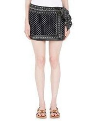 Isabel Marant Toile Bandana Print Lyne Wrap Skirt Black Blue