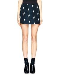 Nobrand Lightning Bolt Print Satin Mini Skirt