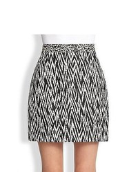 Proenza schouler zigzag jacquard mini skirt black white medium 442993