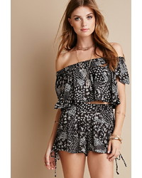 Black and White Print Off Shoulder Top