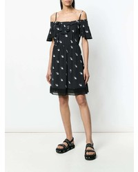 McQ Alexander McQueen Embroidered Swallow Off The Shoulder Top
