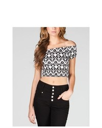 Full tilt ethnic print off shoulder crop tee medium 322506