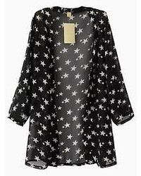 Choies Stars Print Chiffon Kimono In Black