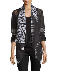 Mixed print tab sleeve cardigan blackwhite medium 536344