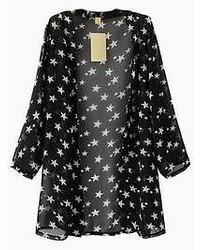 Stars print chiffon kimono in black medium 51830