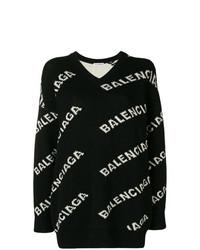 Balenciaga V Neck Logo Sweater