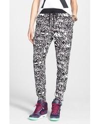 Black and White Print Pajama Pants