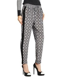 Black medallion print silk tux stripe pants medium 83883