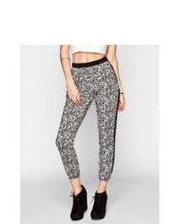 Lily white ditsy print banded bottom pants blackwhite in sizes large medium small x small for 233857125 medium 83893
