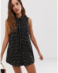 ASOS DESIGN Sleeveless Shirt Swing Playsuit In Print