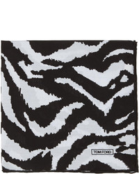 Tom Ford Zebra Print Silk Pocket Square Blackwhite