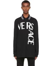 Versace Black Logo Long Sleeve Polo