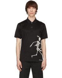 Alexander McQueen Black Skeleton Print Polo