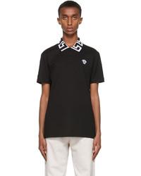 Versace Black White Greca Collar Polo