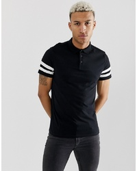 ASOS DESIGN Organic Polo Shirt With Contrast Sleeve Stripe In Black