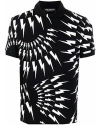 Neil Barrett Thunder Bolt Print Polo Shirt