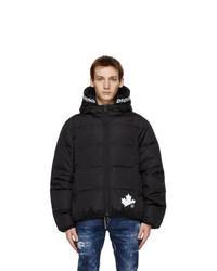 DSQUARED2 Black Down Leaf Lite Puffer Jacket