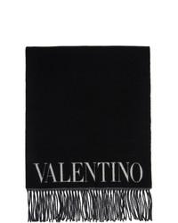 Valentino Black And White Wool Jacquard Flower Scarf