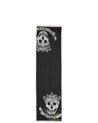 Alexander McQueen Black Royal Banner Skull Scarf