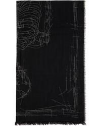 Alexander McQueen Black Skeleton Scarf