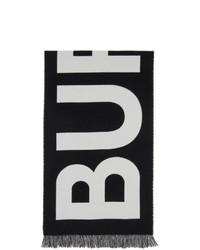Burberry Black Wool Jacquard Logo Scarf