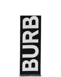 Burberry Black Wool Logo Scarf