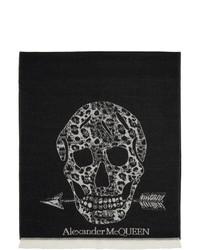 Alexander McQueen Black Wool Oversize Leopard And Skull Scarf