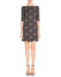 Saint Laurent Half Sleeve Star Print Shift Dress Blackwhite