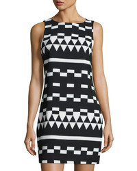 Nicole miller artelier geometric print sleeveless shift dress blackwhite medium 1158312