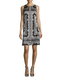 Sleeveless silk lace print mini dress blackwhite medium 1158359