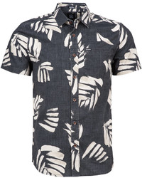 Black and White Print Short Sleeve Shirt