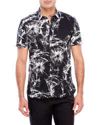 Antony Morato Black Printed Short Sleeve Sport Shirt