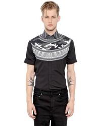 Neil Barrett Printed Cotton Poplin Short Sleeve Shirt
