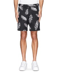Nobrand Palm Leaf Print Cotton Shorts