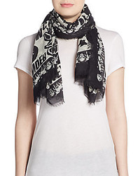 Alexander McQueen Frayed Graphic Silk Scarf