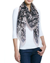 Alexander McQueen Animal Print Silk Chiffon Scarf Powderblack