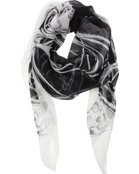Alexander McQueen Black And White Silk Art Nouveau Scarf