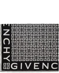 Givenchy Black White Silk 4g Scarf